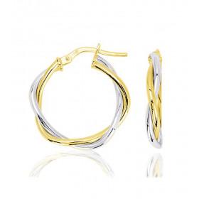 Boucles d'oreilles créoles deux ors 18 carats 27 mm