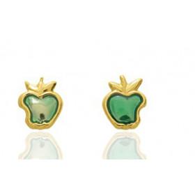 """Boucles d'oreilles en or jaune 18 carats """"pommes"""" laqués pour filles."""