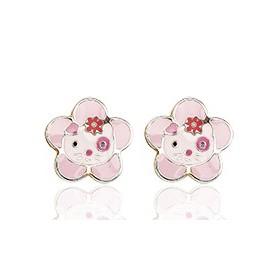 """Boucles d'oreilles en or blanc 18 carats """"fleurs"""" laqués pour filles."""