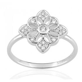 Bague or blanc 18 carats  et diamant 0,14 carat fleur de vie