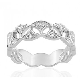Bague or blanc 18 carats  et diamant 0,06 carat fleur de vie