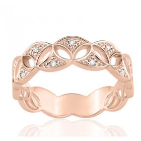 Bague or rose 18 carats  et diamant 0,06 carat fleur de vie