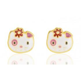 Boucles d'oreilles or jaune laqué chatons pour filles.