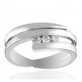 Bague or blanc et diamant 0,15 carat