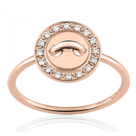 Bague or rose 18 carats  et diamant 0,08 carat