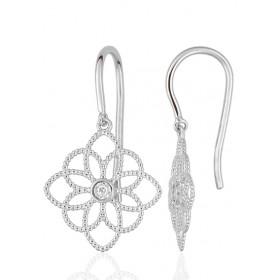 Boucles d'oreilles or blanc 18 carats et diamant 0,03 carat fleur de vie