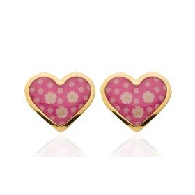 """Boucles d'oreilles en or jaune 18 carats """"cœurs"""" laqués rose pour filles."""