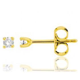 puces d'oreilles en or jaune 18 carats et diamant 0,06 carats pour femme