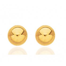 Boucles d'oreilles boules 8 mm   en or jaune 18 carats pour femme