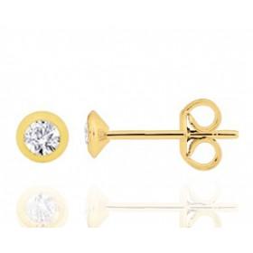 puces d'oreilles en or jaune 18 carats et diamant à partir de 0,08 carats pour femme