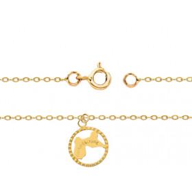 """Chaine de cheville en or jaune 18 carats pour femmes """"Guadeloupe"""""""