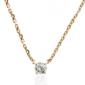 Chaine de cou or jaune 18 carats et diamant 0,20 carat pour femmes