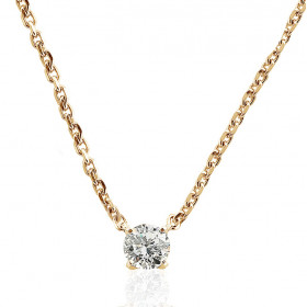 Chaine de cou or jaune 18 carats et diamant 0,30 carat