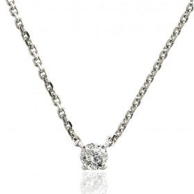 Chaine de cou or blanc 18 carats et diamant 0,20 carat pour femmes