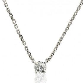 Chaine de cou or blanc 18 carats et diamant 0,30 carat
