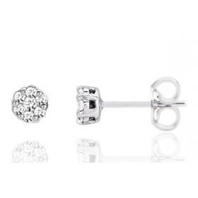 puces d'oreilles en or blanc 18 carats et diamant à partir de 0,15 carats pour femme