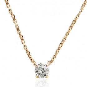Chaine de cou or jaune 18 carats et diamant 0,50 carat pour femmes