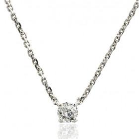 Chaine or blanc 18 carats et diamant 0,40 carat pour femmes.