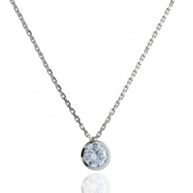 Chaine or blanc 18 carats et diamant 0,10 carat serti clos pour femmes.