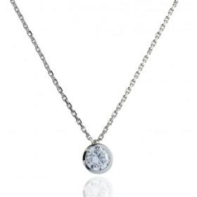 Chaine or blanc 18 carats et diamant 0,20 carat serti clos pour femmes.