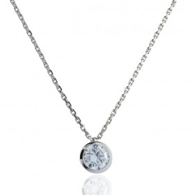 Chaine or blanc 18 carats et diamant 0,30 carat serti clos pour femmes.