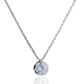 Chaine or blanc 18 carats et diamant 0,40 carat serti clos pour femmes.