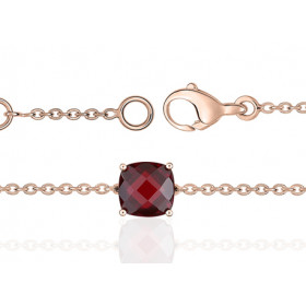 Bracelet or rose 18 carats et grenat à facettes 6 mm