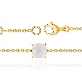 Bracelet or jaune 18 carats et pierre de lune à facettes 8 mm