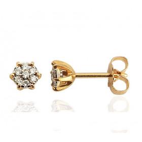 puces d'oreilles en or 18 carats et diamant de 0,12 carats pour femme