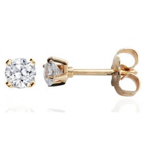 Clous d'oreilles or jaune 18 carats et diamant 0,25 carat