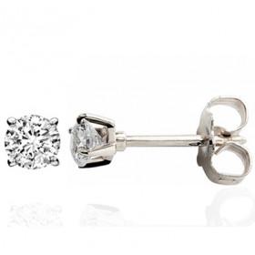 Clous d'oreilles or blanc 18 carats et diamant 0,25 carat