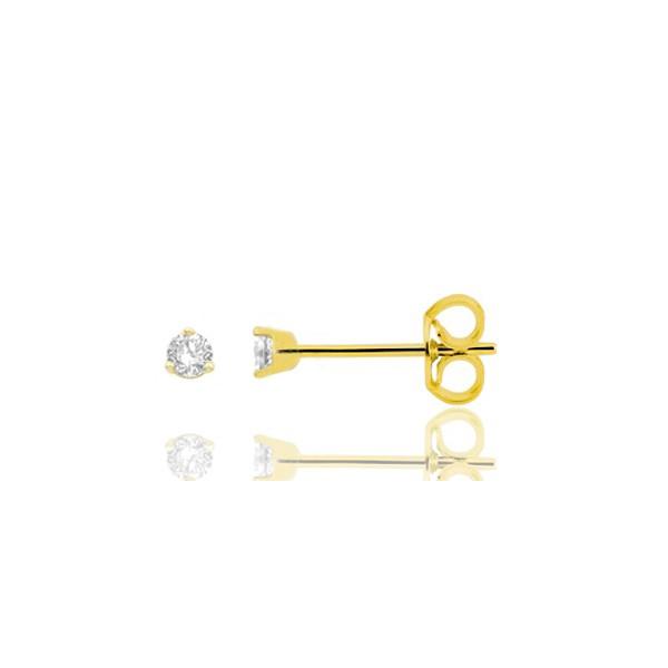 puces d'oreilles en or jaune 18 carats et diamant à partir de 0,06 carats chaton classique pour femme