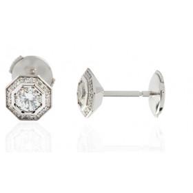 Puces d'oreilles or 18 carats octogone et diamant 0,30 carat