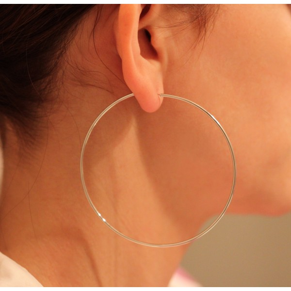 créoles pour femme en or blanc 18 carats 70 mm