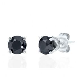 Clous d'oreilles or blanc 18 carats et diamant noir 0,60 carat