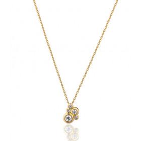 Collier Garden Party or jaune 18 carats et diamants 0,15 carat