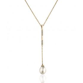 Collier Garden Party or jaune18 carats, diamants et perle de culture