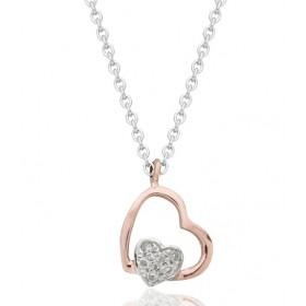 chaine or blanc et pendentif or rose diamant 0,03 carat