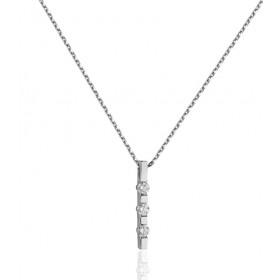 Collier Garden Party or blanc 18 carats et diamants 0,20 carat