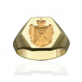 Chevaliere or 18 carats massif avec blason pour homme