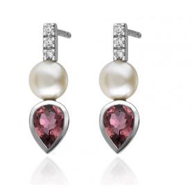 Boucles d'oreilles Garden Party en or blanc 18 carats, diamants 0,015 carat et tourmaline rose 0,76 carat