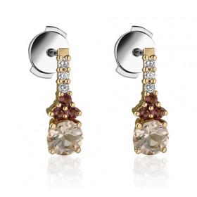 Boucles d'oreilles Garden Party deux ors 18 carats, tourmaline, morganite  et diamants