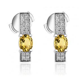 Boucles d'oreilles Garden Party en or blanc 18 carats et saphirs jaunes et diamants