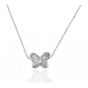 chaine or blanc et pendentif or blanc diamant 0,03 carat papillon