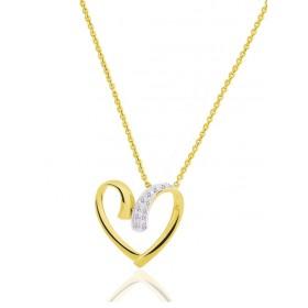 chaine de cou en or 18 carats et pendentif or jaune et diamant
