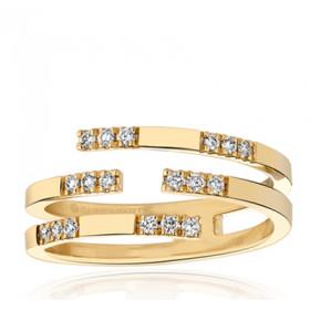 Bague Garden Party or jaune 18 carats et diamants 0,18 carat