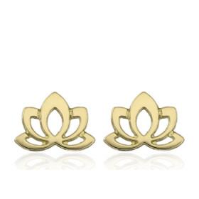 Boucles d'oreilles or jaune 18 carats enfant fleur de lotus