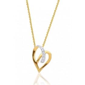 chaine de cou en or 18 carats et pendentif or jaune et diamant 0,02 carat