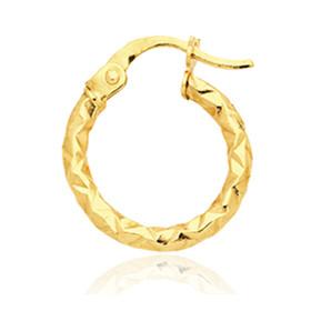 Créole pour homme en or jaune 18 carats diamantée