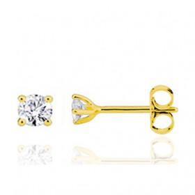 Boucle oreille homme or jaune 18 carats et diamant 0,10 carats.